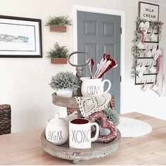 """989 Likes, 50 Comments - Nicole (@myautumnfarmhouse) on Instagram: """"Hope everyone is having a very happy Valentine's Day! This tray and mug rack will be getting a new…"""""""