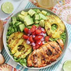 Avocados, grilled pineapples, cherry tomatoes, grilled chicken. Salad