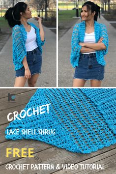 This crochet pattern is perfect for beginners or advanced crocheters. I've included the free crochet pattern for all sizes along with the video tutorial. Crochet Shrug Pattern Free, Crochet Poncho Patterns, Crochet Shawls And Wraps, Crochet Jacket, Free Pattern, Free Crochet Patterns For Beginners, Knitting Beginners, Knitting Patterns, Sewing Patterns