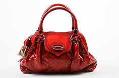 Moschino Red Textured Patent Leather Quilted Dual Handle Zip Top Bag