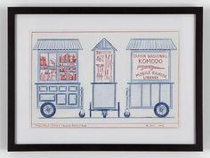 """Mobile Ranger Library - Komodo National Park"", Mark DION (2005). Lapiz de color sobre papel | Arte Conceptual"
