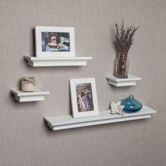 Danya B White Cornice Ledge Shelves with Photo Frames (Set of 4)