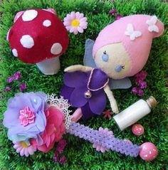 Deluxe Fairy gift set - Doll - toadstool - fairy dust - headband