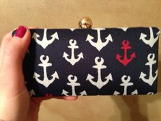SALE Anchor Red White Blue Clutch