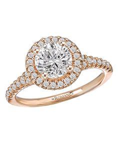 Round Halo Semi-Mount Diamond Ring Round Halo Diamond Semi-Mount Ring in 18kt Rose Gold. (D1/5 carat total weight