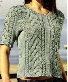 Симпатичный летний пуловер с косами. Описание вязания, схема, выкройка.  Скоро лето. Обновляем гардероб. Этот чудный пуловер вяжется довольно просто.         (ДАМСКАЯ КОПИЛКА)