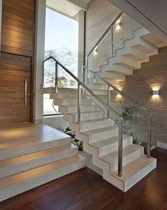 Modern Staircase Design Ideas - Search inspirational photos of modern stairs. - Home Design Home Stairs Design, Railing Design, Interior Stairs, Modern House Design, Staircase Design Modern, Luxury Staircase, Staircase Railings, Staircase Ideas, Railing Ideas