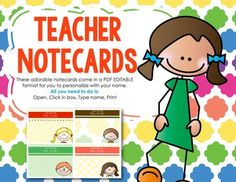 FREEBIE - Editable Teacher Notecards