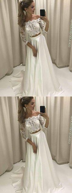 A-line Off-the-shoulder Floor-length 3/4-Length Satin Wedding Dress # ON058 #fashion #popular #simple #long #lace #Wedding