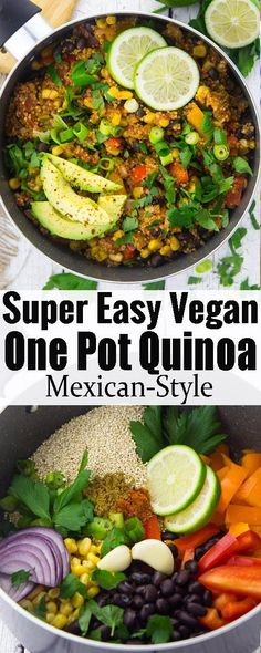 This vegan one pot Mexican quinoa with black beans and corn is one of my favorite vegan weeknight dinners! It's super easy to make, incredibly healthy, and so delicious. Find more vegan recipes at veganheaven.org
