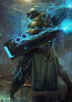 Tron-like Sci-fi Warrior