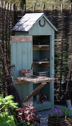 Simple Potting Shed renovated designs for your backyard project Whimsical Garden. - Simple Potting Shed renovated designs for your backyard project Whimsical Garden Tool Shed - Diy Storage Shed, Garden Tool Storage, Garden Tools, Garden Sheds, Small Storage, Small Garden Tool Shed, Backyard Storage, Small Garden Storage Ideas, Dish Storage