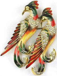 Corocraft Sterling Pair of Jay Birds Duette