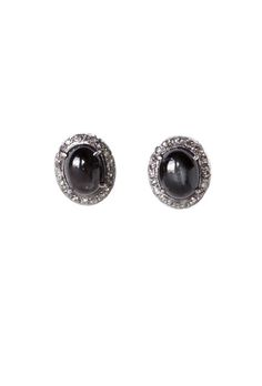 The Woods Black Tigers Eye And Diamond Stud Earrings At Goldyn