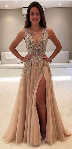 Deep V-neck Prom Dresses,Side Slit Prom Dress,Beaded Prom Gown,Fashion Chiffon Prom Dress,Sexy Party Dress,Custom Made Evening Dress,Sexy Sleeveless Formal Dress,prom dress