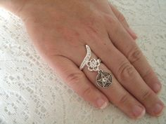Silver Pentacle Ring, wiccan jewelry pagan jewelry wicca jewelry witch witchcraft goddess pentagram metaphysical magic wiccan ring by Sheekydoodle on Etsy