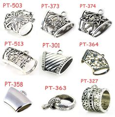 Wholesale 9 Styles 18 pcs tube DIY jewelry findings for hang on scarf pendant