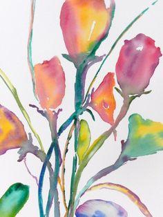 Watercolor Flowers, Original Watercolor Print