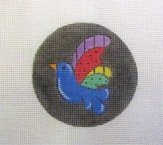 SALE!!   Folk Art Bird on Black Round Handpainted Needlepoint Canvas Ornament #Unbranded