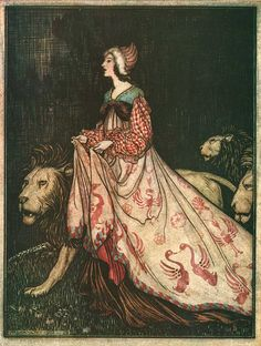 She went away accompanied by the Lions; The Lady and the Lion - The Fairy Tales of the Brothers Grimm, 1909