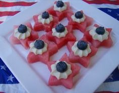 4th of July Stars-Watermelon stars, whipped cream, topped with blueberry. Ingenious and healthy!