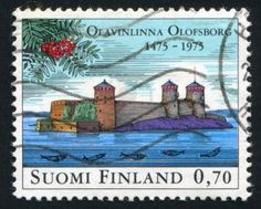 stamp printed by Finland, shows  Olavinlinna Castle in Savonlinna. -  (the pin via angela g.  • https://www.pinterest.com/pin/465348573971562030/ )