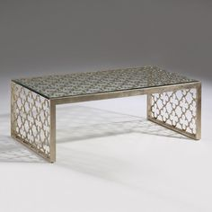 Silver Leaf Transitional Coffee Table Glass Top Free Ship New
