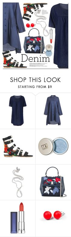 """All denim"" by fshionme ❤ liked on Polyvore featuring Laurence Dacade, Balmain, Annika Burman, Salvatore Ferragamo, Maybelline, Hring eftir hring, vintage, festivalfashion and alldenim"