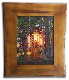 Lake Shore Brilliance - Jan Schmuckal - Oil on Canvas - Live Oak Frame - Arts Crafts - Craftsman - Bungalow - Home - Art Landscape Art, Landscape Paintings, Landscapes, Pottery Houses, Craftsman Style, Craftsman Artwork, Craftsman Frames, Craftsman Kitchen, Paintings I Love