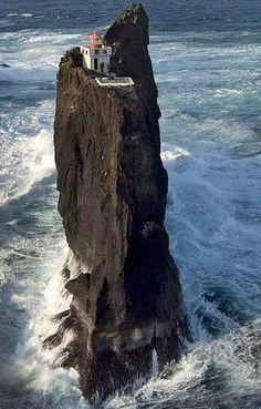 Þrídrangar lighthouse in Iceland (in the Vestmannaeyjar Islands) Beautiful Places, Beautiful Pictures, Places Around The World, Belle Photo, Wonders Of The World, Iceland, Scenery, Places To Visit, Water
