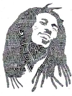 Bob Marley Black and White 85 x 11 Word Portrait by createvictory, $15.00