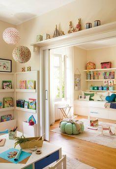 the doors, kid spaces, book storage, kid rooms, pocket doors, playroom, shelv, bedroom, sliding doors