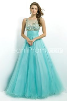 2014 Long Bateau Sleevelessss Tulle Ball Gowns/ Prom Dresses  Beautiful and no worries about tan lines!  This is a classic.