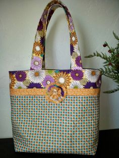 Floral/geometric tote bag by NonniZu on Etsy, $20.00