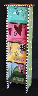Bookshelves @ Zeebs Clothes and Furniture - Hand-painted children's furniture, handmade dresses, embroidered clothing and more!~~I have a shelving unit in our bathroom that would be adorable painted like this! Art Furniture, Funky Furniture, Refurbished Furniture, Colorful Furniture, Handmade Furniture, Repurposed Furniture, Furniture Projects, Furniture Makeover, Children Furniture