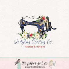 sewing machine logo lady bug logo sewing logo by ThePaperGirlCo