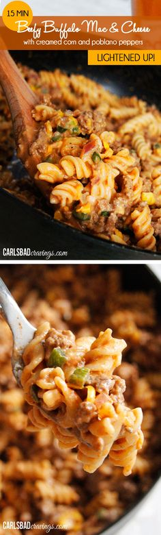 15 MINUTE Beefy Buffalo Mac and Cheese with Creamed Corn and Poblano Peppers - Mac and cheese meets hamburger helper for the ultimate FLAVORFUL quick and easy, LIGHTENED UP comfort food.