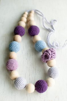 Nursing necklace / Teething necklace #nursing #teething #necklace #lavender #lilac #purple #blue #gift for new mom $26.00