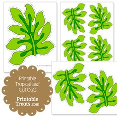 Printable Light Green Tropical Leaf Cut Outs