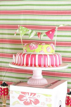 Vintage Luau party cake...change colors to coordinate!