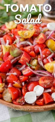 Fresh tomato salad is a summer staple! Juicy tomatoes are combined with a simple… Fresh tomato salad is a summer staple! Juicy tomatoes are combined with a simple oil and vinegar dressing for the perfect salad! Fresh Tomato Recipes, Tomato Salad Recipes, Salad Dressing Recipes, Healthy Salad Recipes, Salad Dressings, Healthy Side Dishes, Side Dish Recipes, Tomato And Onion Salad, Tomato Dishes