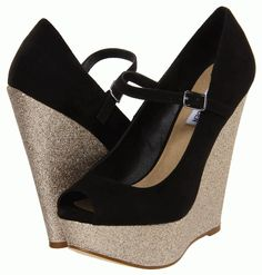 Steve Maden #shoes love the glitter soles on these wedges