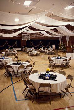 Dekoration Hochzeit – A church gym transformed into a wedding venue Gym Wedding Reception, Wedding Reception Decorations, Wedding Receptions, Reception Ideas, Wedding Draping, Debut Decorations, Wedding Church, Christmas Decorations, Trendy Wedding