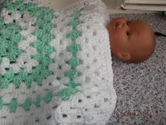 CROCHET BLANKET for Prem Baby or Doll   ID 744 (nannycheryl original) £12.00