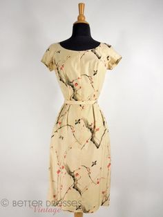 Vintage 1950s Hawaiian Sheath Dress in Taupe Asian Bird and Cherry Print Silk - sm by Better Dresses Vintage