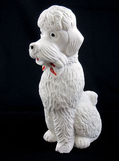 Chalkware Vintage Poodle Dog White Plaster Hand Painted Figurine 8 Inches
