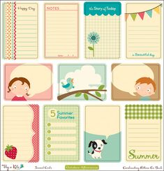 Journaling cards for Project Life. Printable Labels, Printable Planner, Planner Stickers, Free Printables, Scrapbook Journal, Journal Cards, Scrapbook Cards, Project Life Cards, Pocket Scrapbooking