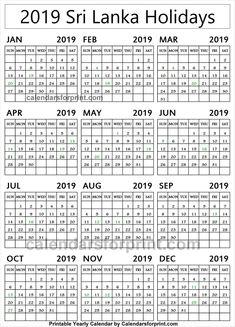 2019 sri lanka calendar with holidays
