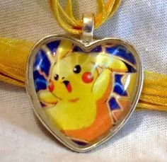 Pikachu Pokemon necklace made from upcycled by CharmingSushi, £6.29