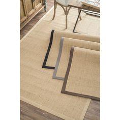 nuLOOM Handmade Alexa Eco Natural Fiber Cotton Border Sisal Rug (5' x 8') (Brown), Size 5' x 8'